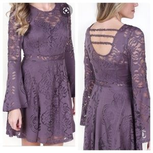 Altar'd State Lace Fit & Flare with Bell Sleeve
